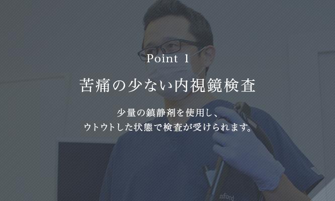 苦痛の少ない内視鏡検査 少量の鎮静剤を使用し、ウトウトした状態で検査が受けられる