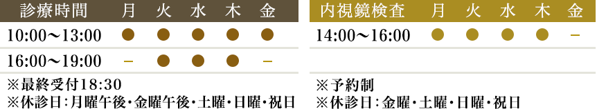 診療時間:月~土 10:00~13:00/16:00~19:00 内視鏡検査:月~土 14:00~16:00(予約制)